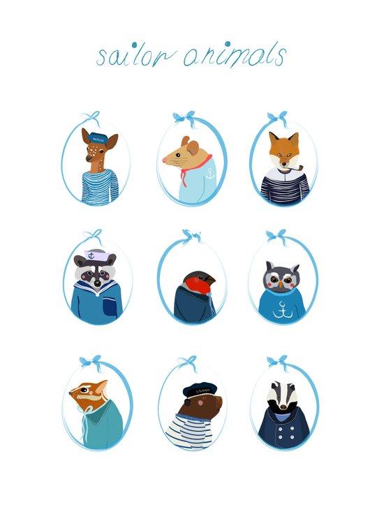 Sailor Animals Art Print