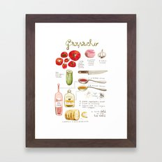 illustrated recipes: gazpacho Framed Art Print