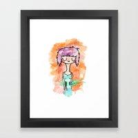 La chica altavoz Framed Art Print