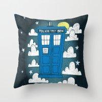 Blue Box Throw Pillow