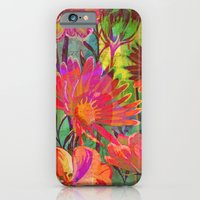 iPhone Cases featuring flowers and words in bright colors by clemm