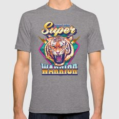 Super Furry Tiger Warrior Mens Fitted Tee Tri-Grey SMALL