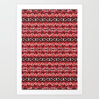 Montana Stripe - Cherry Art Print