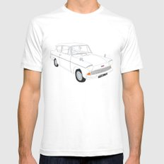 Weasley's Flying Ford Anglia SMALL White Mens Fitted Tee