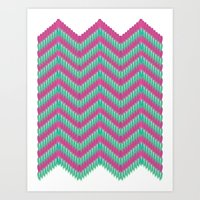 Hot Pink & Mint Art Print