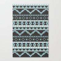 Aztec Pattern 2 Gray & Teal Canvas Print
