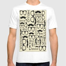 Hello, Bonjour White Mens Fitted Tee SMALL