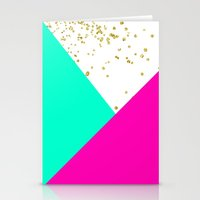 Stylish neon pink turquoise color block gold girly Stationery Cards