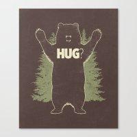 Bear Hug? (dark version) Canvas Print