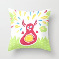 Happy Jumping Creature Throw Pillow