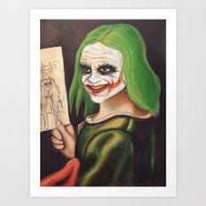 Young Joker Holding a Drawing Art Print