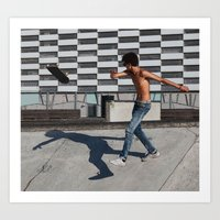 Skate boarding guy Art Print