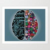 brain Art Prints featuring Brain by BlueLela
