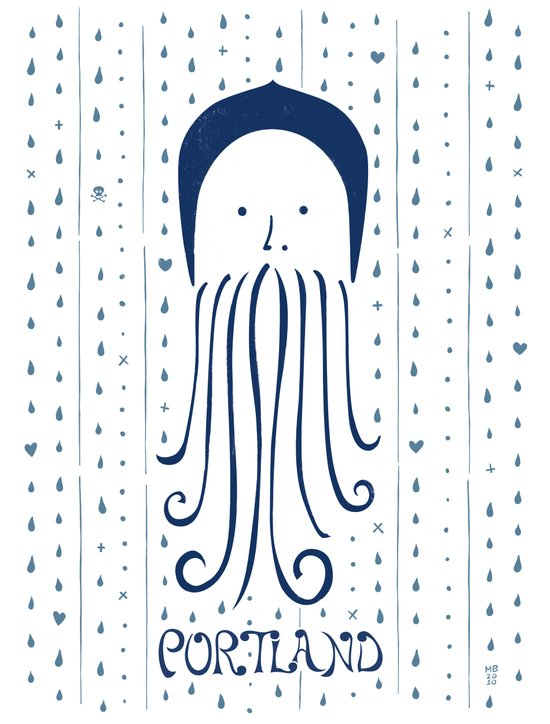 Rainy Hoodie Beardy Art Print