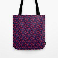 Red stars on bold blue background illustration Tote Bag