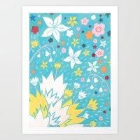 Aqua Lilies Art Print