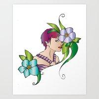 lady flower Art Print