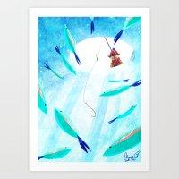 Ice Fisher's Nap Art Print