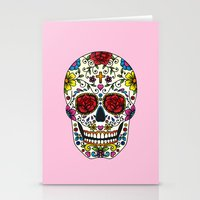 sugar skull Stationery Cards featuring Sugar Skull by Jade Boylan