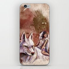 Miyazaki's Mononoke Hime - San and the Wolf TraDigital Painting iPhone & iPod Skin