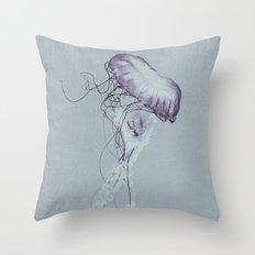 Jellyfish Black and White Throw Pillow