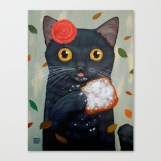 LADY CAT AND BEIGNET Canvas Print