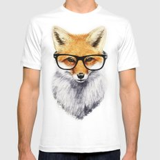 Mr. Fox SMALL White Mens Fitted Tee