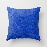 Dark Blue Stucco Throw Pillow