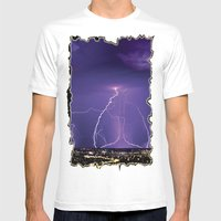 Lightening Mens Fitted Tee White SMALL