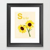 S Is For Sunflowers  Framed Art Print