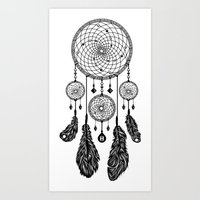 Dreamcatcher (Black & Wh… Art Print