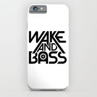 iPhone & iPod Case featuring Wake And Bass (Black) by Halucinated Design
