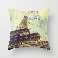 Paris is Flying Throw Pillow