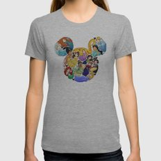 Princess Mickey Ears Womens Fitted Tee Athletic Grey SMALL