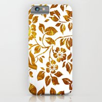 iPhone & iPod Case featuring Gold flowers by ponymonster