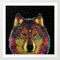 Cosmic Wild Animals Art Print