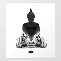 White Tiger Buddha Art Print