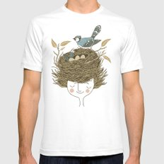 Bird Hair Day Mens Fitted Tee White SMALL