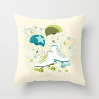 Roller Derby Rumble Throw Pillow