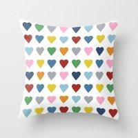 64 Hearts Throw Pillow