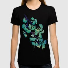 O Ginkgo (in Green) Womens Fitted Tee Black SMALL