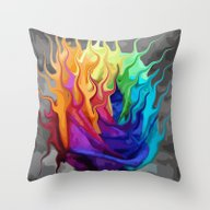Colorful Flaming Flower Throw Pillow