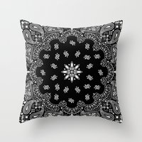 Black And White Bandana Throw Pillow