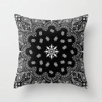 black and white bandana Throw Pillow