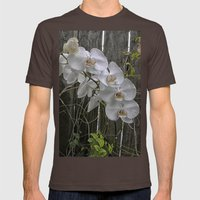 White Moth Orchid Mens Fitted Tee Brown SMALL