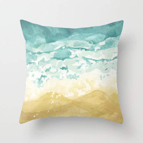 Minimalist Shore - Beach Painting Throw Pillow