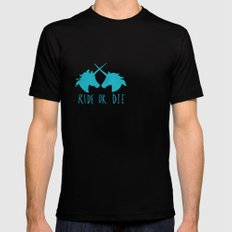 Ride or Die x Unicorns x Turquoise Mens Fitted Tee SMALL Black
