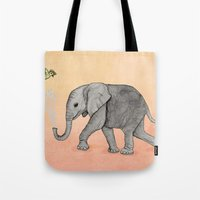Elephant And The Bird Tote Bag