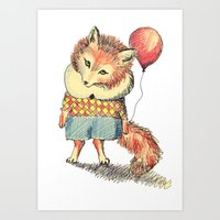 Balloon Fox Art Print