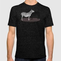 Zebra Embrace Mens Fitted Tee Tri-Black SMALL
